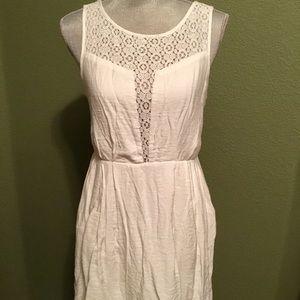BCBG Generation White Cotton Dress, Lace Detail